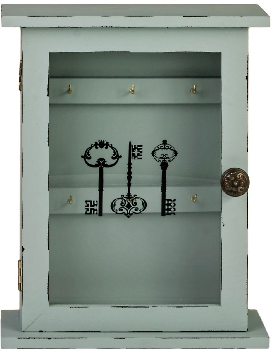 Ключница Miralight, со стеклянной дверцей, цвет: белый, 21 х 6,7 х 26,6 смML-4725 Ключница со стеклянной дверцейКлючница Miralight, выполненная из МДФ и стекла, украсит интерьер помещения, а также поможет создать атмосферу уюта. Ключница, оформленная в прованском стиле, станет не только украшением вашего дома, но и послужит функционально: она представляет собой ящичек со стеклянной дверцей, внутри которого предусмотрено 6 металлических крючков для ключей.