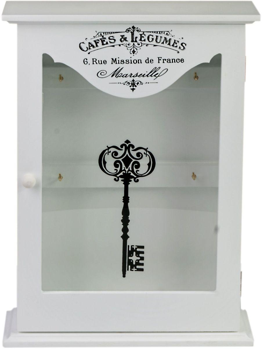 Ключница Miralight, со стеклянной дверцей, цвет: белый, 22,2 х 7,7 х 30,2 см. ML-4732Брелок для ключейКлючница Miralight, выполненная из МДФ, украсит интерьер помещения, а также поможет создать атмосферу уюта. Ключница, оформленная в прованском стиле, станет не только украшением вашего дома, но и послужит функционально: она представляет собой ящичек со стеклянной дверцей, внутри которого предусмотрено 6 металлических крючков для ключей.
