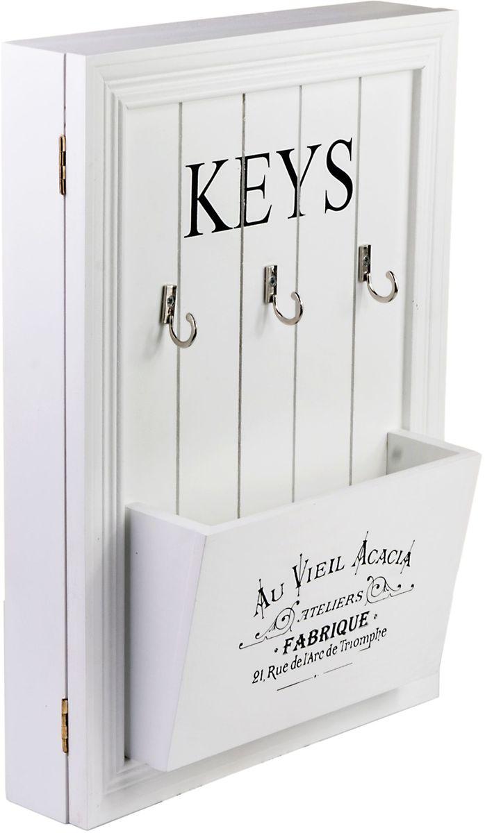 Ключница Miralight, с дверцей и карманом, цвет: белый, 24,2 х 10,2 х 34,2 см. ML-473674-0060Ключница Miralight, выполненная из МДФ, украсит интерьер помещения, а также поможет создать атмосферу уюта. Ключница, оформленная в прованском стиле, станет не только украшением вашего дома, но и послужит функционально: она представляет собой ящичек, внутри которого предусмотрены металлические крючки для ключей. Снаружи имеется 3 дополнительных крючка, а также удобный карман для записок, журналов и газет.