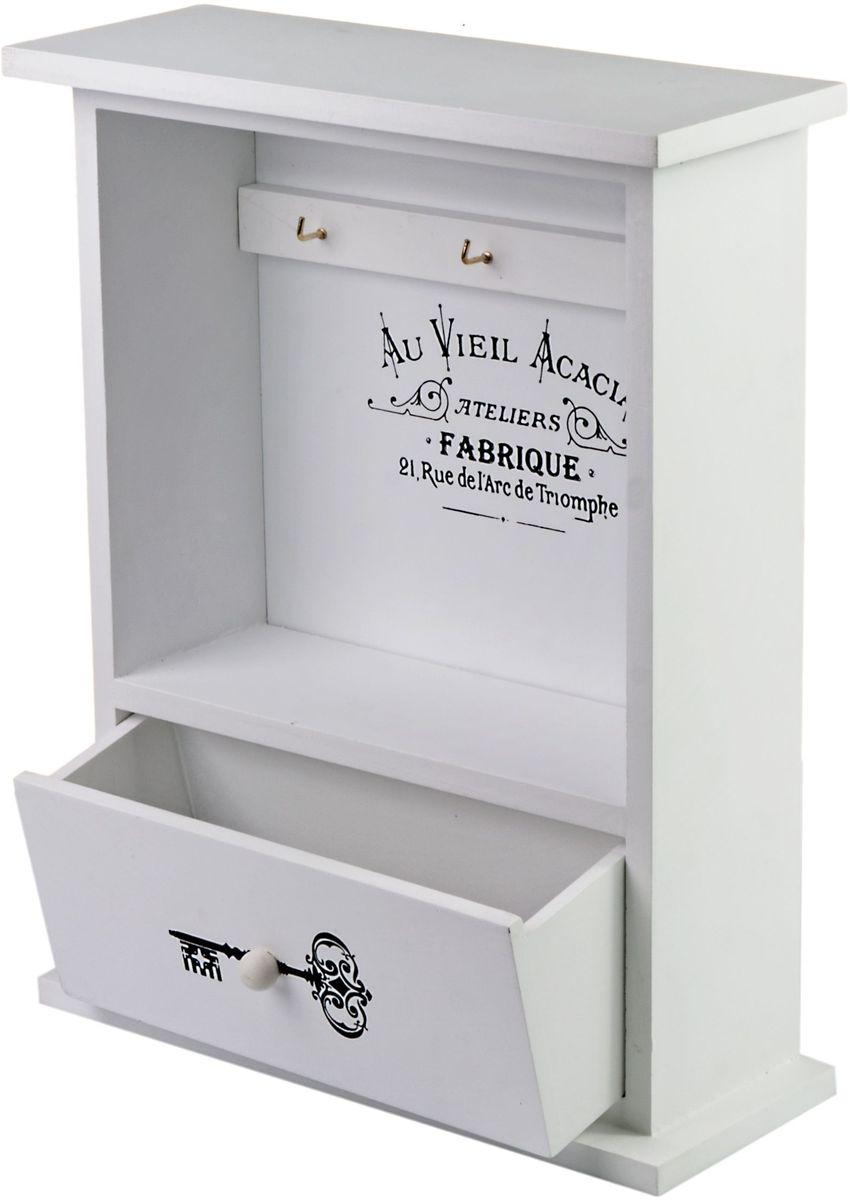 Ключница Miralight, с ящиком, цвет: белый, 23,7 х 9,2 х 30,2 см. ML-4742ML-4742 Ключница белая с ящикомКлючница Miralight, выполненная из МДФ, украсит интерьер помещения, а также поможет создать атмосферу уюта. Ключница, оформленная в прованском стиле, станет не только украшением вашего дома, но и послужит функционально: она представляет собой шкафчик, внутри которого предусмотрено 6 металлических крючков для ключей, а также ящик для мелочей.