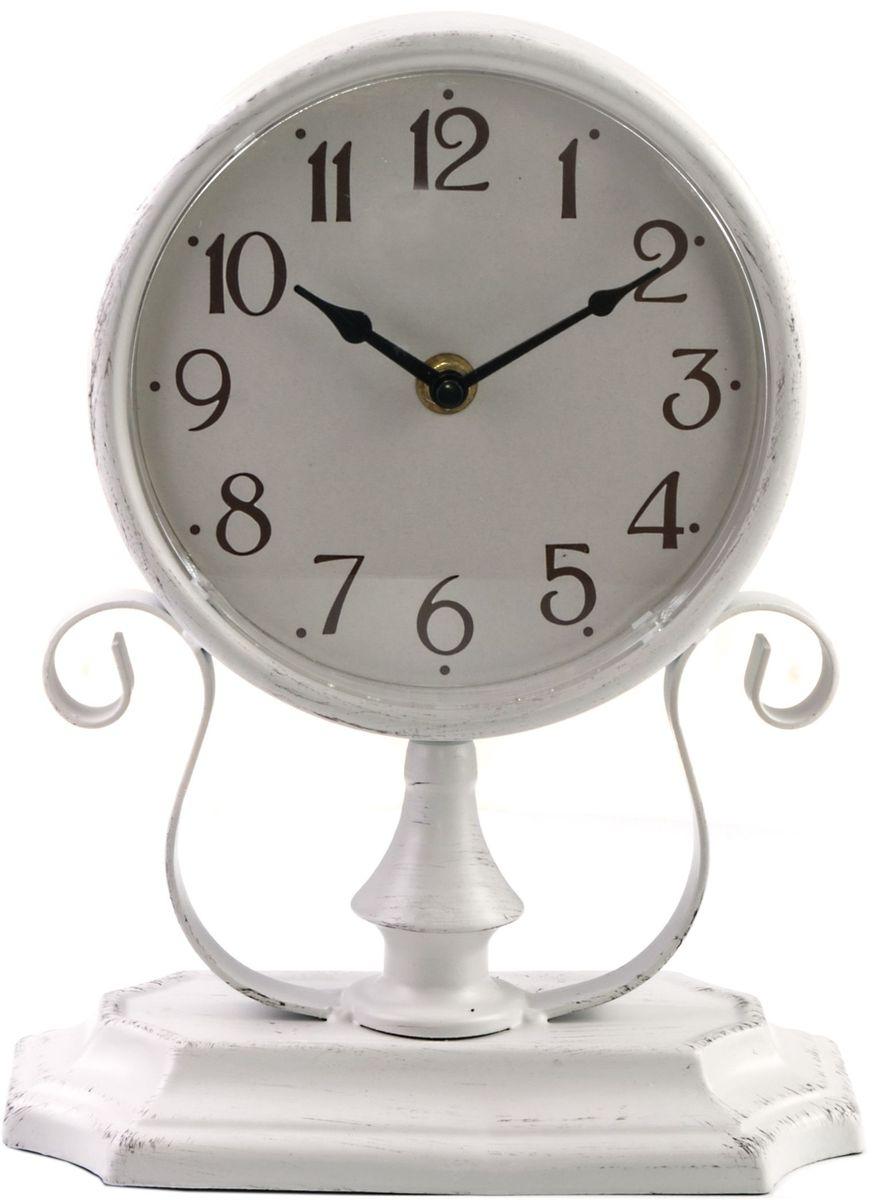 Часы настольные Miralight, цвет: серый. ML-512154 009305Настольные часы Miralight, изготовленные из металла, прекрасно украсят интерьер вашего помещения. Часы, выполненные в модном стиле ретро, имеют подставку с ажурными коваными элементами для удобного размещения на столе и массивный металлический корпус. Состаренный циферблат круглой формы имеет две стилизованные фигурные стрелки: часовую и минутную и элегантные арабские цифры. Питание осуществляется от одной батарейки типа АА (не входит в комплект). Оформите свой дом таким интерьерным аксессуаром или преподнесите его в качестве презента друзьям, и они оценят ваш оригинальный вкус и неординарность подарка.