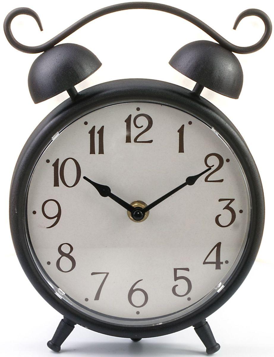 Часы настольные Miralight Будильник, цвет: античная медь94672Настольные часы Miralight Будильник, изготовленные из металла, прекрасно украсят интерьер вашего помещения. Часы, выполненные в модном стиле ретро, имеют массивный металлический корпус и декорированы элементом художественной ковки. Состаренный циферблат круглой формы имеет две стилизованные фигурные стрелки: часовую и минутную и элегантные арабские цифры. Часы-будильник не позволят вам опоздать на важную встречу или совещание. На задней панели часов есть регуляторы для установки времени, будильника. Питание осуществляется от одной батарейки типа АА (не входит в комплект). Оформите свой дом таким интерьерным аксессуаром или преподнесите его в качестве презента друзьям, и они оценят ваш оригинальный вкус и неординарность подарка.