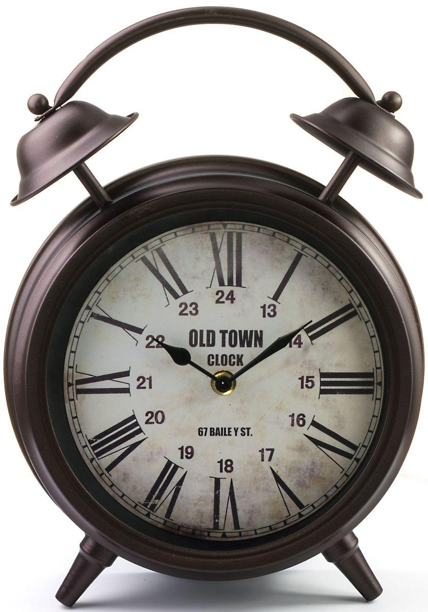 Часы настольные Miralight Будильник, цвет: темная медь54 009312Механические настольные часы Miralight в виде будильника выполнены из металла и полистоуна, прекрасно подойдут под интерьер вашего дома. Круглые часы имеют две стрелки: часовую и минутную, циферблат защищен прозрачным стеклом. Диаметр циферблата: 18 см.Часы работают от 1 батарейки типа АА напряжением 1,5 В (в комплект не входит).