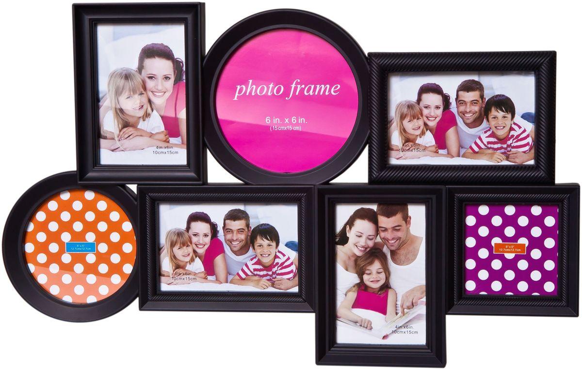 Фоторамка Platinum, цвет: черный, на 7 фотоБрелок для ключейФоторамка Platinum - прекрасный способ красиво оформить ваши фотографии. Фоторамка выполнена из пластика и защищена стеклом. Фоторамка-коллаж представляет собой семь фоторамок для фото разного размера оригинально соединенных между собой. Такая фоторамка поможет сохранить в памяти самые яркие моменты вашей жизни, а стильный дизайн сделает ее прекрасным дополнением интерьера комнаты. Мультирамка снабжена петлями для подвешивания в вертикальном и горизонтальном положениях.Фоторамка подходит для фотографий 15 х 15 см, 10 х 15 см, 13 х 13 см и 10 х 10 см.Общий размер фоторамки: 56 х 36 см.