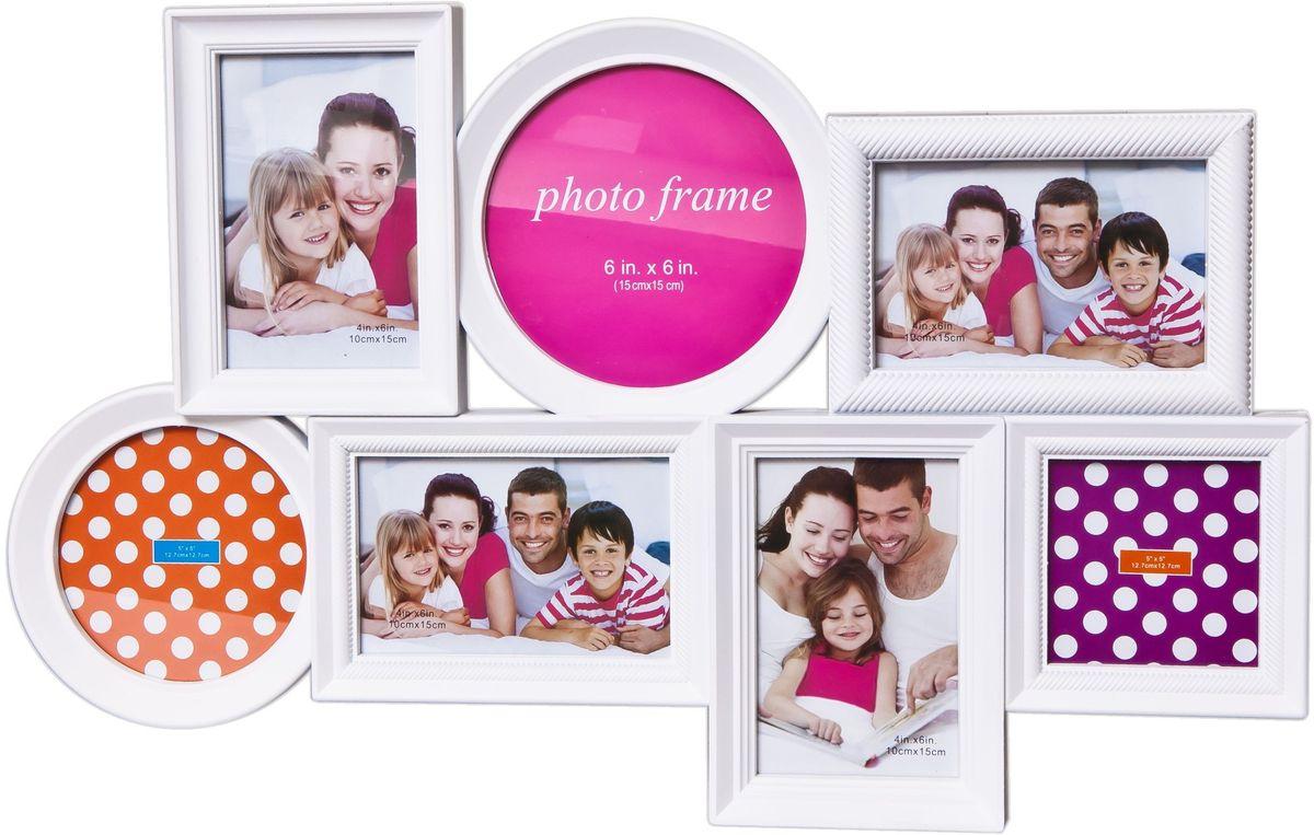 Фоторамка Platinum, цвет: белый, на 7 фото25051 7_зеленыйФоторамка Platinum - прекрасный способ красиво оформить ваши фотографии. Фоторамка выполнена из пластика и защищена стеклом. Фоторамка-коллаж представляет собой семь фоторамок для фото разного размера оригинально соединенных между собой. Такая фоторамка поможет сохранить в памяти самые яркие моменты вашей жизни, а стильный дизайн сделает ее прекрасным дополнением интерьера комнаты. Мультирамка снабжена петлями для подвешивания в вертикальном и горизонтальном положениях.Фоторамка подходит для фотографий 15 х 15 см, 10 х 15 см, 13 х 13 см и 10 х 10 см.Общий размер фоторамки: 56 х 36 см.