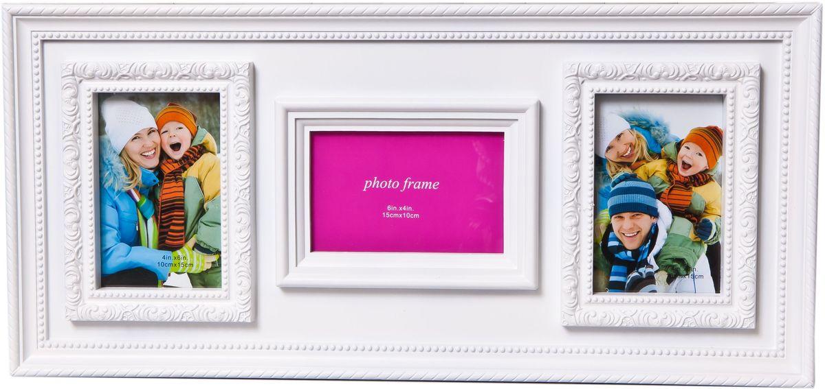 Фоторамка Platinum, цвет: белый, на 3 фотоPlatinum JW84-2 ФЛОРЕНЦИЯ-СИНИЙ 21x30Фоторамка Platinum - прекрасный способ красиво оформить ваши фотографии. Фоторамка выполнена из пластика и защищена стеклом. Фоторамка-коллаж оригинального дизайна представляет собой фоторамку на три фото разного размера. Такая фоторамка поможет сохранить в памяти самые яркие моменты вашей жизни, а стильный дизайн сделает ее прекрасным дополнением интерьера комнаты.Фоторамка подходит для фото следующих размеров: 2 фото 10 х 15 см и 1фото 15 х 10 см.Общий размер фоторамки: 56 х 26 см.