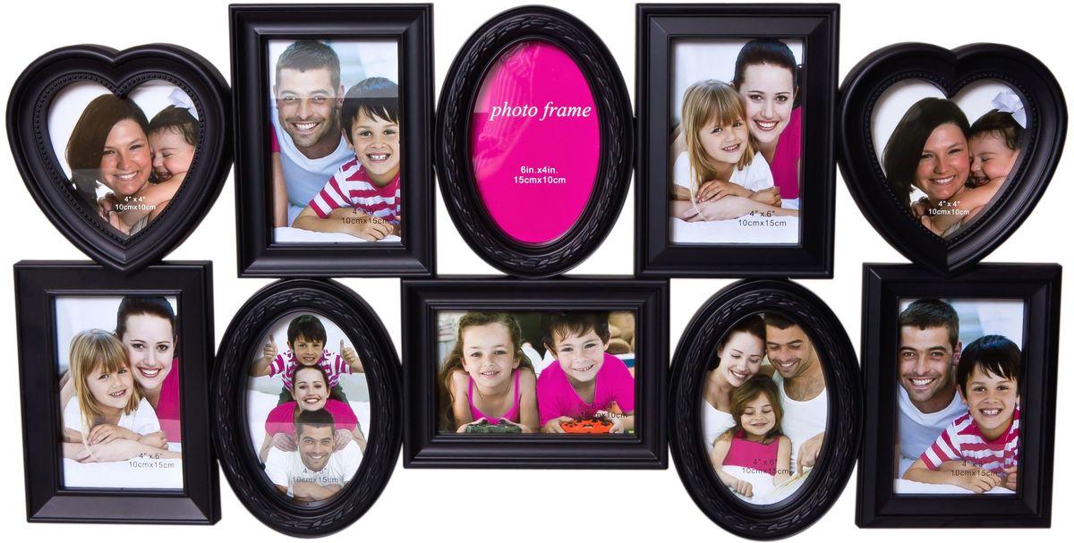 Фоторамка Platinum, цвет: черный, на 10 фотоRG-D31SФоторамка Platinum - прекрасный способ красиво оформить ваши фотографии. Фоторамка выполнена из пластика и защищена стеклом. Фоторамка-коллаж представляет собой десять фоторамок для фото разного размера оригинально соединенных между собой. Такая фоторамка поможет сохранить в памяти самые яркие моменты вашей жизни, а стильный дизайн сделает ее прекрасным дополнением интерьера комнаты.Фоторамка подходит для фото следующих размеров: 2 фото 10 х 10 см и 8 фото 10 х 15 см.Общий размер фоторамки: 74 х 37 см.