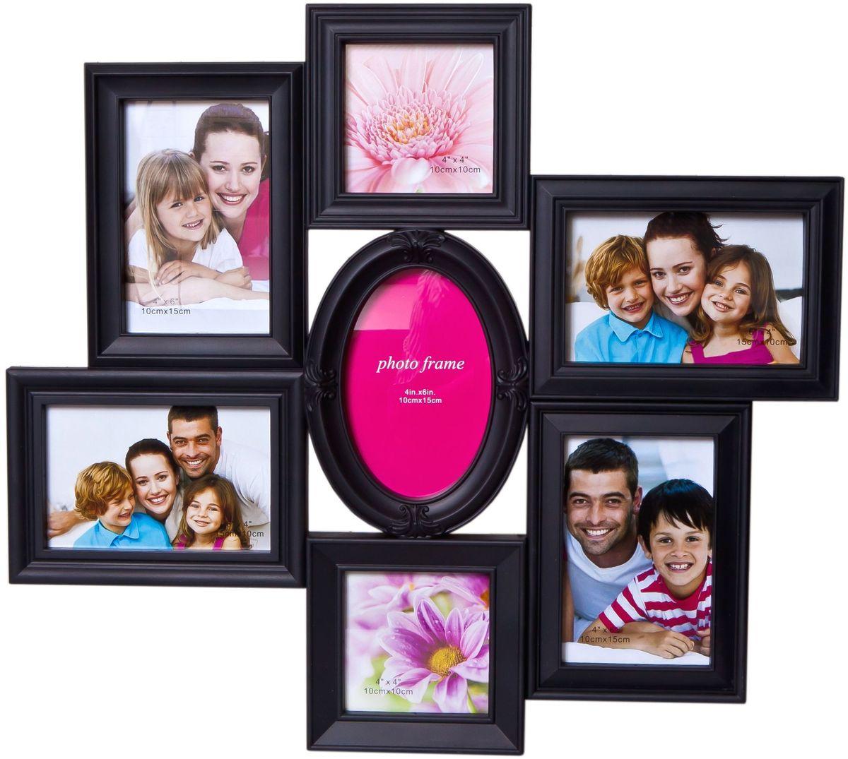Фоторамка Platinum, цвет: черный, на 7 фото. BH-1313RG-D31SФоторамка Platinum - прекрасный способ красиво оформить ваши фотографии. Фоторамка выполнена из пластика и защищена стеклом. Фоторамка-коллаж представляет собой семь фоторамок для фото разного размера оригинально соединенных между собой. Такая фоторамка поможет сохранить в памяти самые яркие моменты вашей жизни, а стильный дизайн сделает ее прекрасным дополнением интерьера комнаты.Фоторамка подходит для фото следующих размеров: 2 фото 10 х 10 см и 5 фото 10 х 15 см.Общий размер фоторамки: 50 х 45 см.