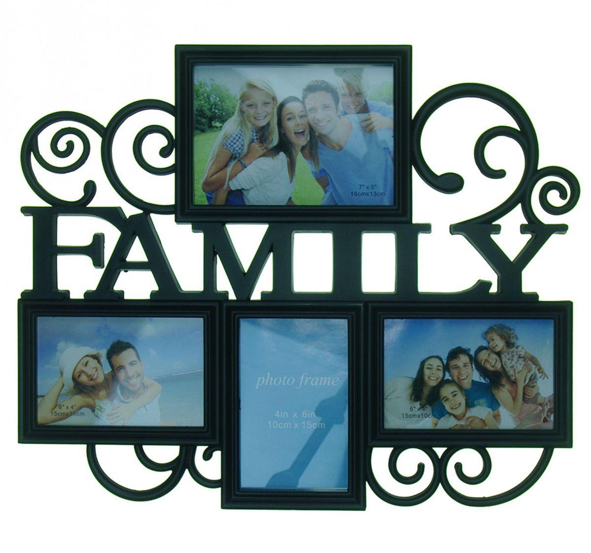 Фоторамка Platinum Family, цвет: черный, на 4 фото. BH-1314Брелок для сумкиФоторамка Platinum Family - прекрасный способ красиво оформить ваши фотографии. Фоторамка выполнена из пластика и защищена стеклом. Фоторамка-коллаж представляет собой четыре фоторамки для фото разного размера оригинально соединенных между собой. Такая фоторамка поможет сохранить в памяти самые яркие моменты вашей жизни, а стильный дизайн сделает ее прекрасным дополнением интерьера комнаты.Фоторамка подходит для 2 фото 15 х 10 см, 1 фото 10 х 15 см и 1 фото 18 х 13 см.Общий размер фоторамки: 47 х 38 см.