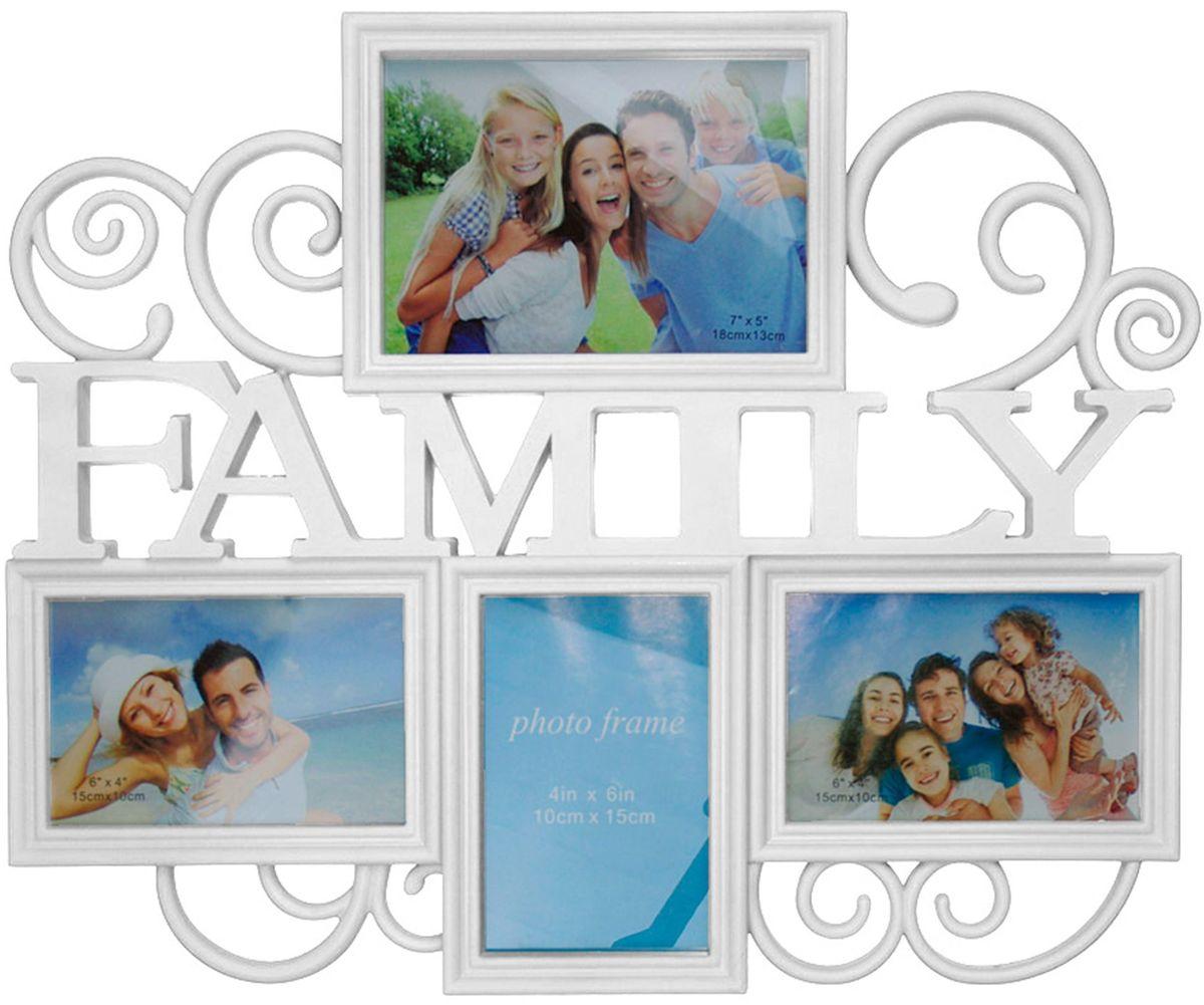 Коллаж Platinum Family, цвет: белый, 4 фоторамки. BH-1314Брелок для ключейПластиковый коллаж с 2 фото 15х10 см, 1 фото 10х15 см, 1 фото 18х13 см.