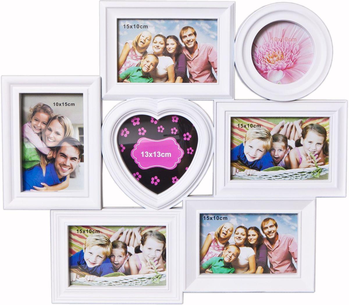 Фоторамка Platinum, цвет: белый, на 7 фото. BH-1317U210DFФоторамка Platinum - прекрасный способ красиво оформить ваши фотографии. Фоторамка выполнена из пластика и защищена стеклом. Фоторамка-коллаж представляет собой семь фоторамок для фото разного размера оригинально соединенных между собой. Такая фоторамка поможет сохранить в памяти самые яркие моменты вашей жизни, а стильный дизайн сделает ее прекрасным дополнением интерьера комнаты. Фоторамка подходит для 1 фото 10 х 10 см, 5 фото 10 х 15 см и 1 фото 13 х 13 см.Общий размер фоторамки: 49 х 43 см.