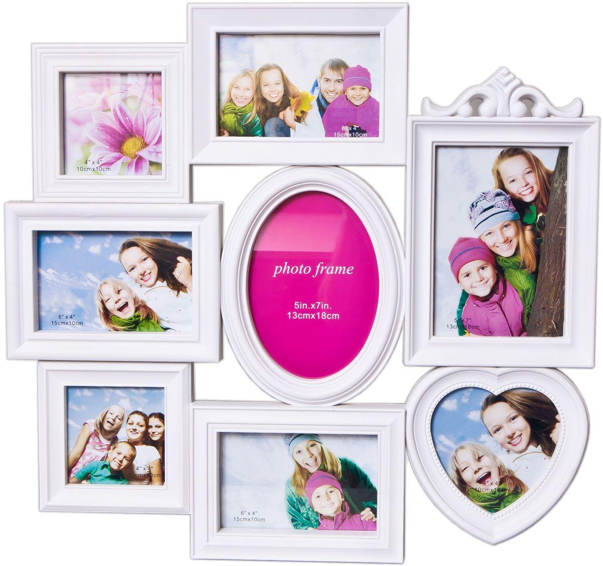Фоторамка Platinum, цвет: белый, на 8 фото. BH-1318U210DFФоторамка Platinum - прекрасный способ красиво оформить ваши фотографии. Фоторамка выполнена из пластика и защищена стеклом. Фоторамка-коллаж представляет собой восемь фоторамок для фото разного размера оригинально соединенных между собой. Такая фоторамка поможет сохранить в памяти самые яркие моменты вашей жизни, а стильный дизайн сделает ее прекрасным дополнением интерьера комнаты. Фоторамка подходит для 3 фото 10 х 10 см, 3 фото 10 х 15 см и 2 фото 13 х 18 см.Общий размер фоторамки: 51 х 48 см.