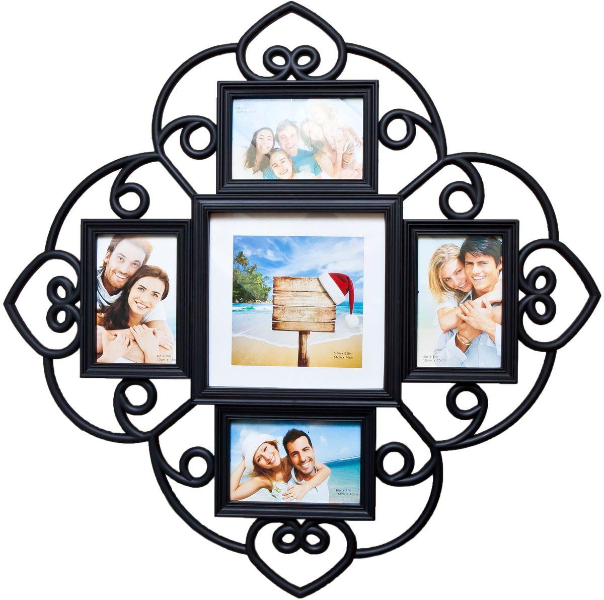 Фоторамка Platinum, цвет: черный, на 5 фото. BH-140528907 4Фоторамка Platinum - прекрасный способ красиво оформить ваши фотографии. Фоторамка выполнена из пластика и защищена стеклом. Фоторамка-коллаж представляет собой пять фоторамок для фото разного размера оригинально соединенных между собой. Такая фоторамка поможет сохранить в памяти самые яркие моменты вашей жизни, а стильный дизайн сделает ее прекрасным дополнением интерьера комнаты. Фоторамка подходит для 4 фото 10 х 15 см и 1 фото 14 х 14 см.Общий размер фоторамки: 53 х 53 см.