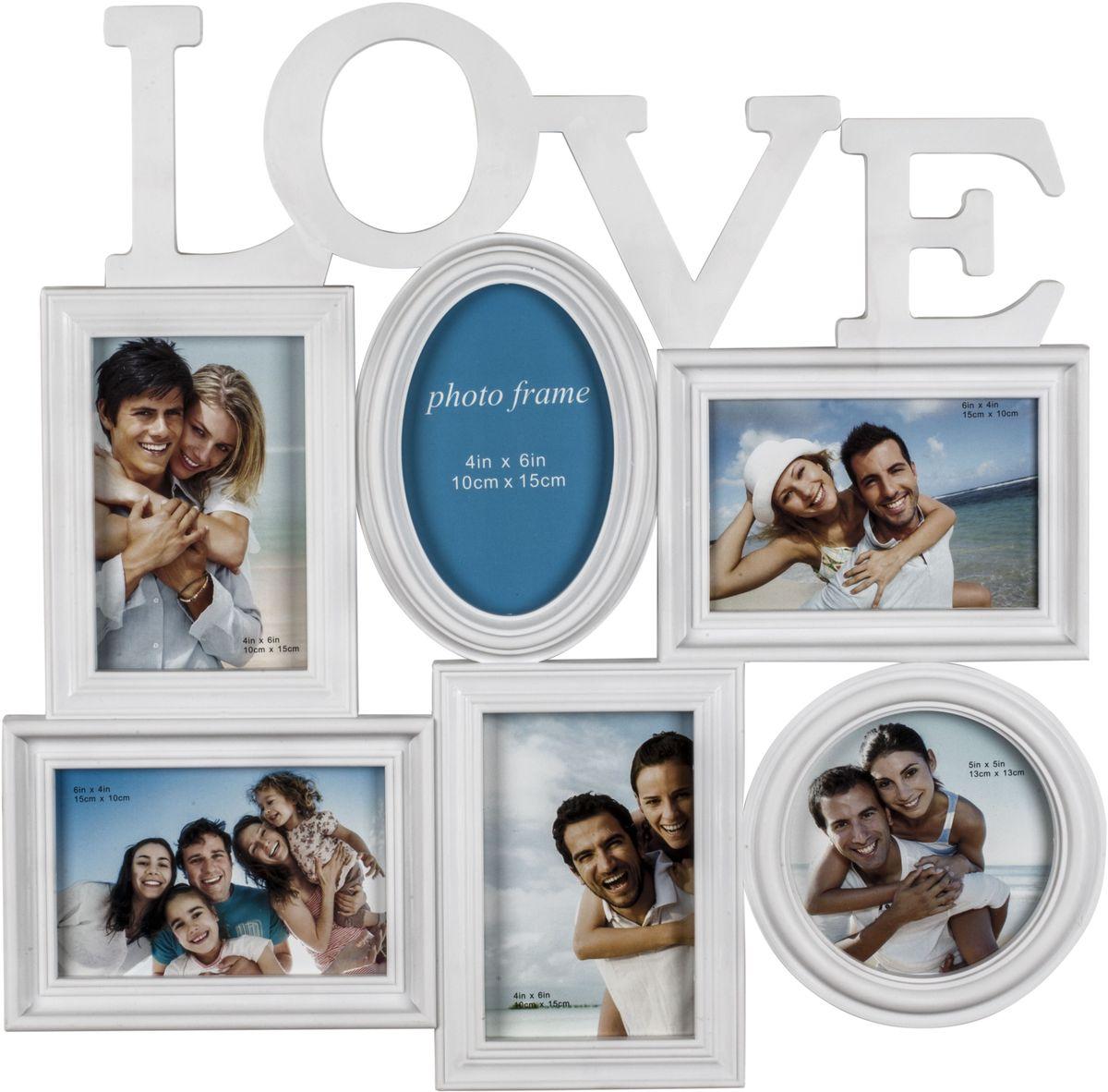 Фоторамка Platinum Love, цвет: белый, на 6 фотоRG-D31SФоторамка Platinum Love - прекрасный способ красиво оформить ваши фотографии. Фоторамка выполнена из пластика и защищена стеклом. Фоторамка-коллаж представляет собой шесть фоторамок для фото разного размера оригинально соединенных между собой. Такая фоторамка поможет сохранить в памяти самые яркие моменты вашей жизни, а стильный дизайн сделает ее прекрасным дополнением интерьера комнаты.Фоторамка подходит для 5 фото 10 х 15 см и 1 фото 13 х 13 см.Общий размер фоторамки: 46 х 47 см.