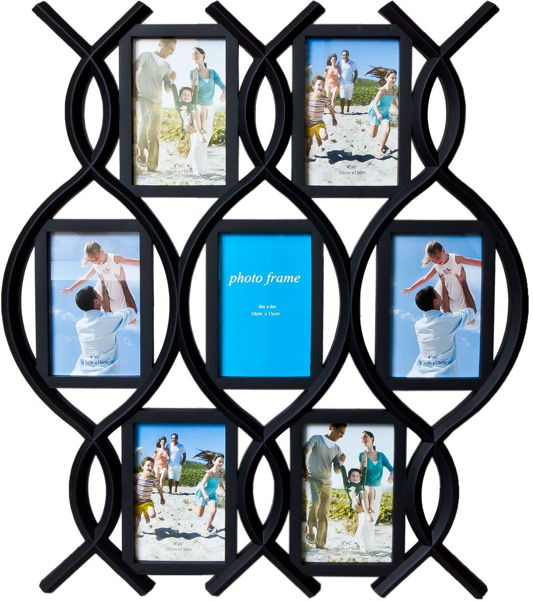 Фоторамка Platinum, цвет: черный, на 7 фото 10 х 15 см. BH-140728907 4Фоторамка Platinum - прекрасный способ красиво оформить ваши фотографии. Фоторамка выполнена из пластика и защищена стеклом. Фоторамка-коллаж представляет собой семь фоторамок для фото одного размера оригинально соединенных между собой. Такая фоторамка поможет сохранить в памяти самые яркие моменты вашей жизни, а стильный дизайн сделает ее прекрасным дополнением интерьера комнаты. Фоторамка подходит для фотографий 10 х 15 см.Общий размер фоторамки: 51 х 58 см.