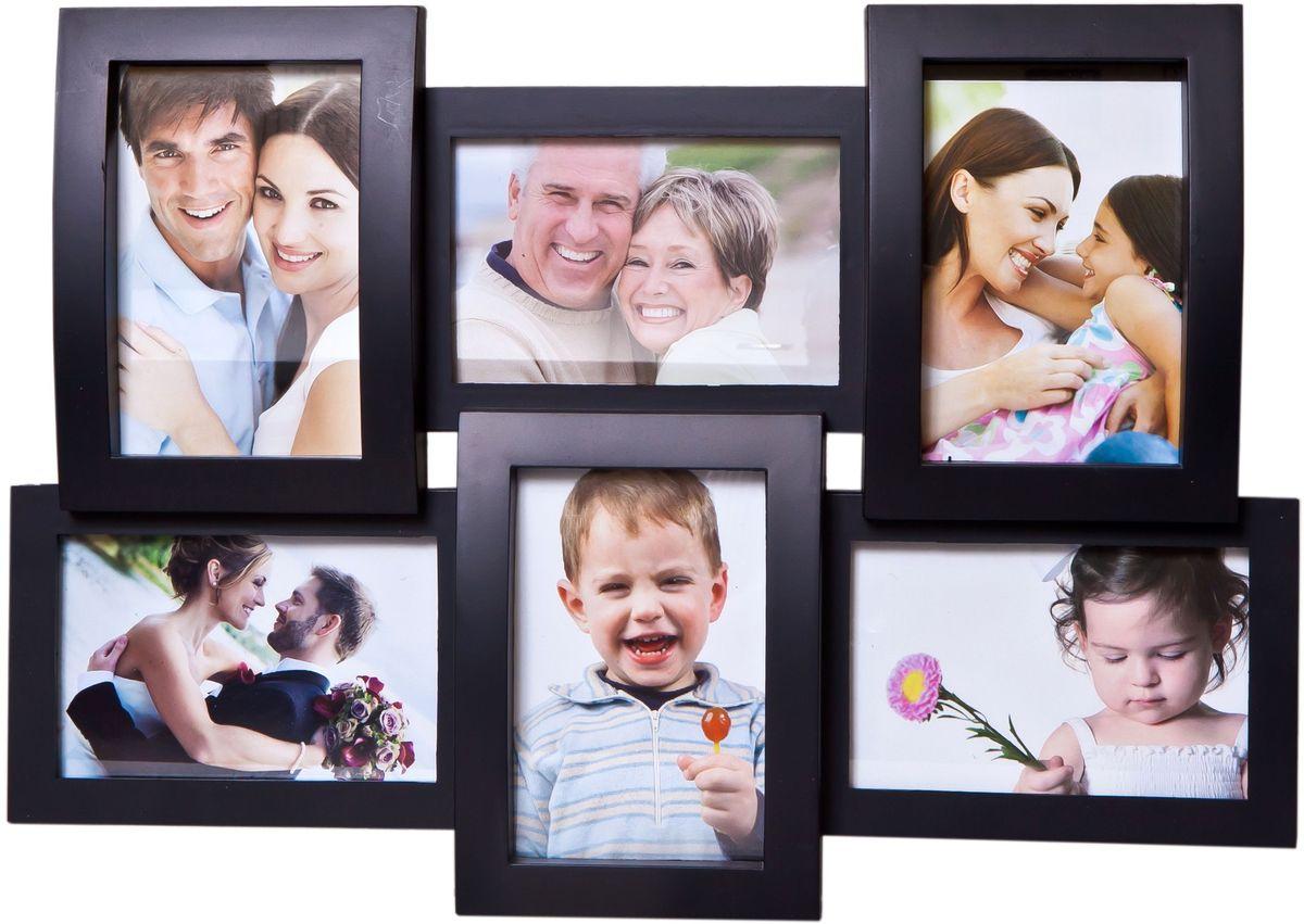 Фоторамка Platinum, цвет: черный, на 6 фото 10 х 15 смБрелок для ключейФоторамка Platinum - прекрасный способ красиво оформить ваши фотографии. Фоторамка выполнена из пластика и защищена стеклом. Фоторамка-коллаж представляет собой шесть фоторамок для фото одного размера оригинально соединенных между собой. Такая фоторамка поможет сохранить в памяти самые яркие моменты вашей жизни, а стильный дизайн сделает ее прекрасным дополнением интерьера комнаты.Фоторамка подходит для фотографий 10 х 15 см.Общий размер фоторамки: 46 х 32 см.