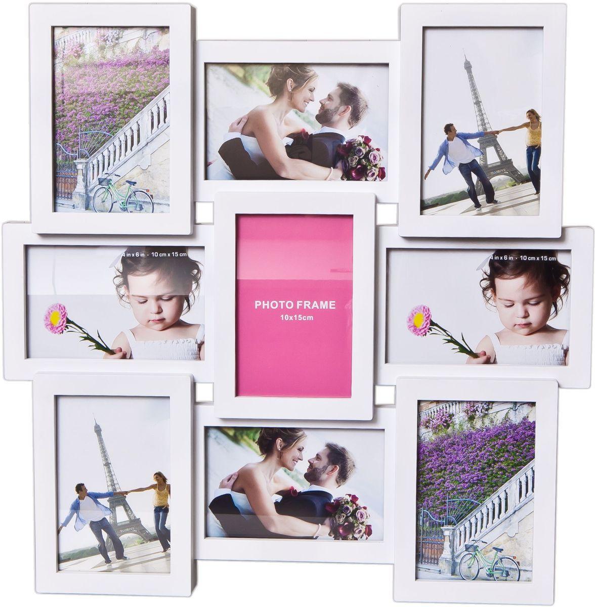 Фоторамка Platinum, цвет: белый, на 9 фото 10 х 15 см. BH-2209PLATINUM BH-1302-White-БелыйФоторамка Platinum - прекрасный способ красиво оформить ваши фотографии. Фоторамка выполнена из пластика и защищена стеклом. Фоторамка-коллаж представляет собой девять фоторамок для фото одного размера оригинально соединенных между собой. Такая фоторамка поможет сохранить в памяти самые яркие моменты вашей жизни, а стильный дизайн сделает ее прекрасным дополнением интерьера комнаты. Фоторамка подходит для фотографий 10 х 15 см.Общий размер фоторамки: 44 х 44 см.