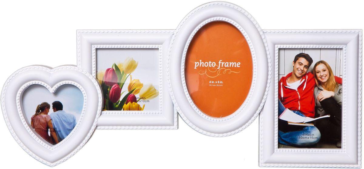 Коллаж Platinum, цвет: белый, 4 фоторамки. BH-2302PLATINUM BH-1302-White-БелыйПластиковый коллаж с 2 фото 10х15 см, 2 фото 10х10 см.