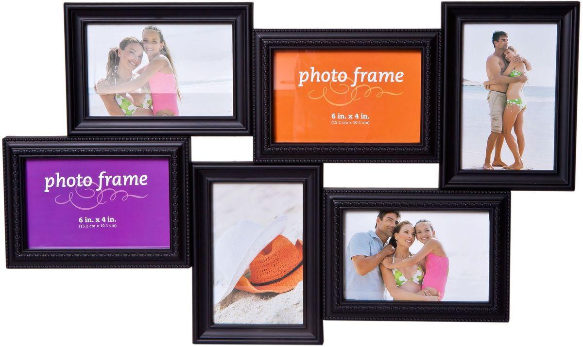 Фоторамка Platinum, цвет: черный, на 6 фото. BH-2306RG-D31SФоторамка Platinum - прекрасный способ красиво оформить ваши фотографии. Фоторамка выполнена из пластика и защищена стеклом. Фоторамка-коллаж представляет собой шесть фоторамок для фото разного размера оригинально соединенных между собой. Такая фоторамка поможет сохранить в памяти самые яркие моменты вашей жизни, а стильный дизайн сделает ее прекрасным дополнением интерьера комнаты. Фоторамка подходит для 3 фото 10 х 15 см и 3 фото 15 х 10 см.Общий размер фоторамки: 54 х 32 см.