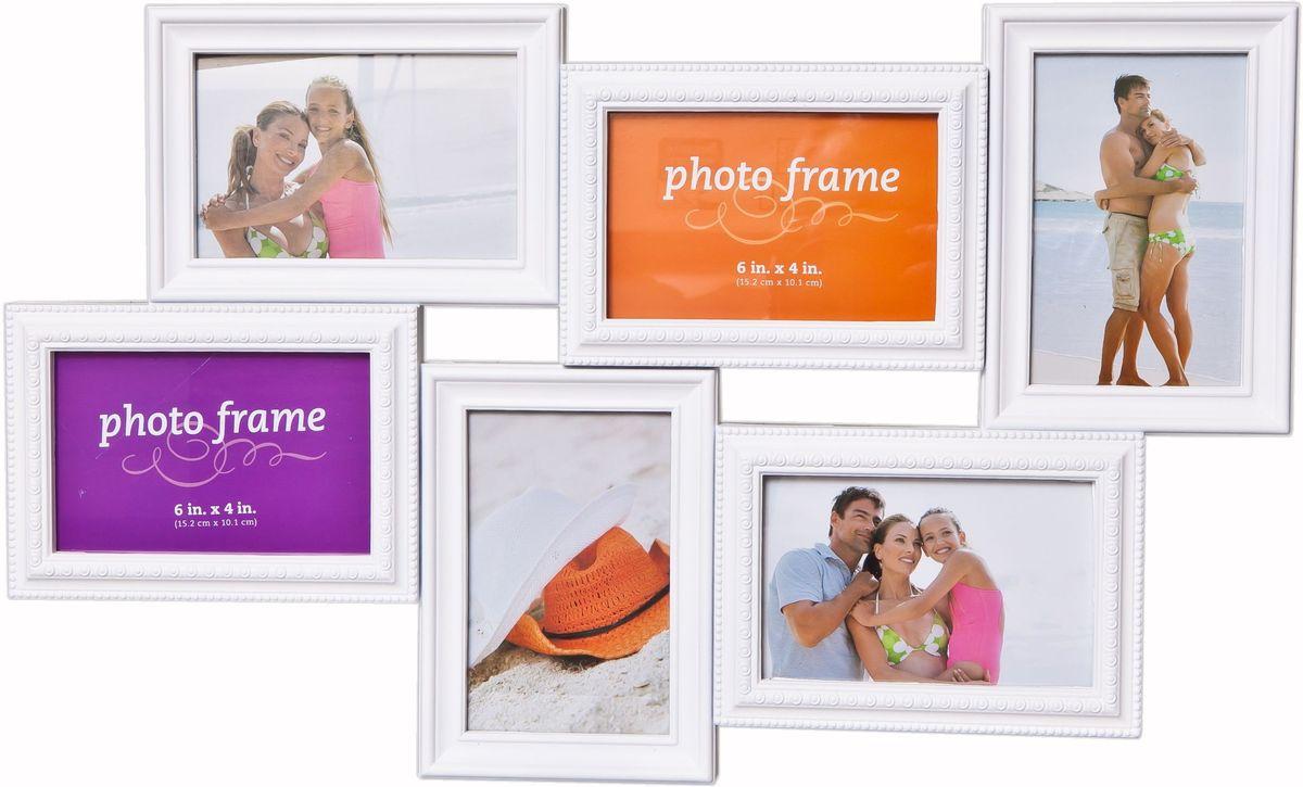Фоторамка Platinum, цвет: белый, на 6 фото. BH-2306RG-D31SФоторамка Platinum - прекрасный способ красиво оформить ваши фотографии. Фоторамка выполнена из пластика и защищена стеклом. Фоторамка-коллаж представляет собой шесть фоторамок для фото разного размера оригинально соединенных между собой. Такая фоторамка поможет сохранить в памяти самые яркие моменты вашей жизни, а стильный дизайн сделает ее прекрасным дополнением интерьера комнаты. Фоторамка подходит для 3 фото 10 х 15 см и 3 фото 15 х 10 см.Общий размер фоторамки: 54 х 32 см.