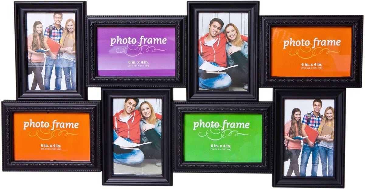 Фоторамка Platinum, цвет: черный, на 8 фотоPLATINUM BH-2308-Black-ЧёрныйФоторамка Platinum - прекрасный способ красиво оформить ваши фотографии. Фоторамка выполнена из пластика и защищена стеклом. Фоторамка-коллаж представляет собой восемь фоторамок для фото разного размера оригинально соединенных между собой. Такая фоторамка поможет сохранить в памяти самые яркие моменты вашей жизни, а стильный дизайн сделает ее прекрасным дополнением интерьера комнаты.Фоторамка подходит для 4 фото 10 х 15 см, 4 фото 15 х 10 см.Общий размер фоторамки: 63 х 33 см.