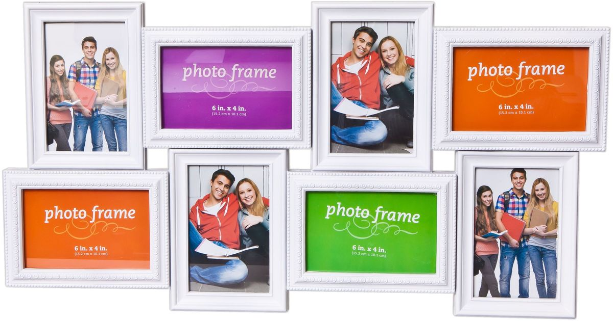 Коллаж Platinum, цвет: белый, 8 фоторамок. BH-2308BIN-1123247 Белый (White)Пластиковый коллаж с 4 фото 10х15 см, 4 фото 15х10 см.