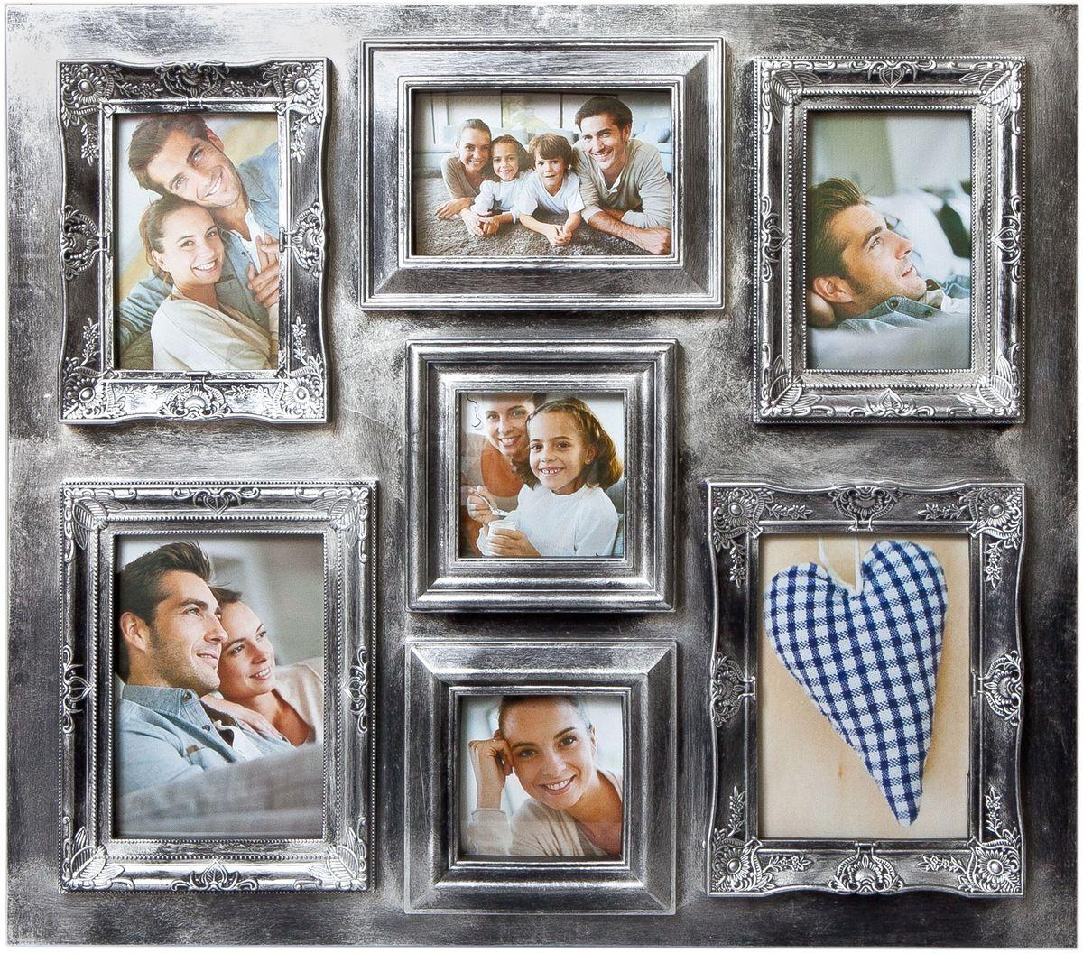 Фоторамка Platinum, цвет: серебристый, на 7 фотоPLATINUM BIN-112137 Серебряный (Silver)Фоторамка Platinum - прекрасный способ красиво оформить ваши фотографии. Фоторамка выполнена из пластика и защищена стеклом. Фоторамка-коллаж оригинального дизайна представляет собой фоторамку на семь фото разного размера. Такая фоторамка поможет сохранить в памяти самые яркие моменты вашей жизни, а стильный дизайн сделает ее прекрасным дополнением интерьера комнаты.Фоторамка подходит для 5 фото 10 х 15 см и 2 фото 10 х 10 см.Общий размер фоторамки: 58 х 51 см.
