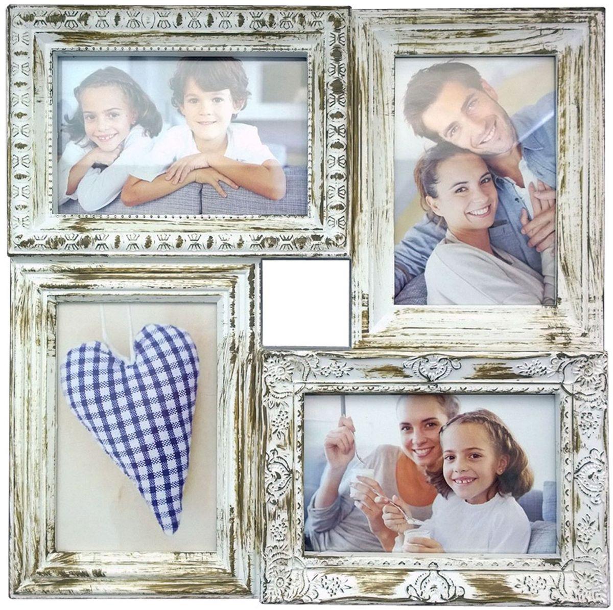 Коллаж Platinum, цвет: античный белый, 4 фоторамки. BIN-112181PLATINUM BH-1315-White-БелыйПластиковый коллаж с 4 фото 10х15.