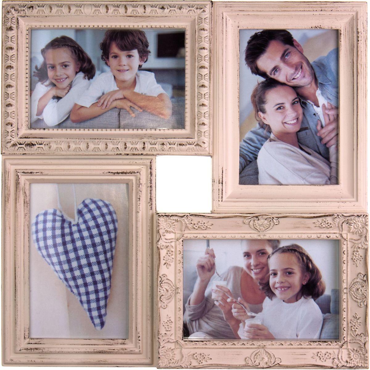 Фоторамка Platinum, цвет: античный кремовый, на 4 фото 10 х 15 смPLATINUM BH-1408-White-БелыйФоторамка Platinum - прекрасный способ красиво оформить ваши фотографии. Фоторамка выполнена из пластика и защищена стеклом. Фоторамка-коллаж представляет собой четыре фоторамки для фото одного размера оригинально соединенных между собой. Такая фоторамка поможет сохранить в памяти самые яркие моменты вашей жизни, а стильный дизайн сделает ее прекрасным дополнением интерьера комнаты.Фоторамка подходит для фотографий 10 х 15 см.Общий размер фоторамки: 33 х 33 см.