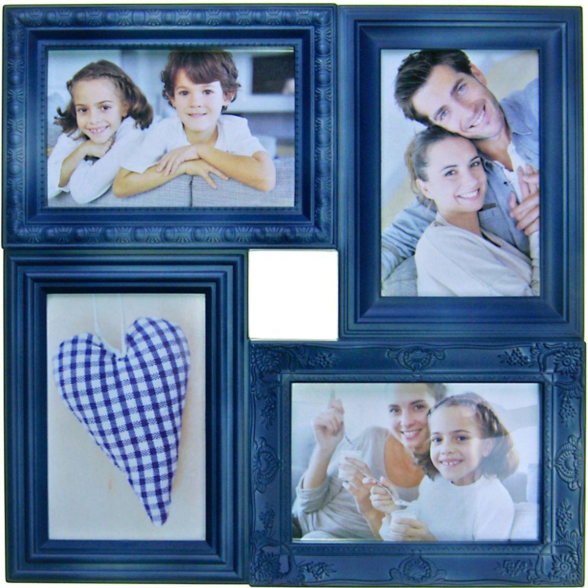 Фоторамка Platinum, цвет: джинсовый, на 4 фото 10 х 15 см. BIN-112181Брелок для ключейФоторамка Platinum - прекрасный способ красиво оформить ваши фотографии. Фоторамка выполнена из пластика и защищена стеклом. Фоторамка-коллаж представляет собой четыре фоторамки для фото одного размера оригинально соединенных между собой. Такая фоторамка поможет сохранить в памяти самые яркие моменты вашей жизни, а стильный дизайн сделает ее прекрасным дополнением интерьера комнаты.Фоторамка подходит для фотографий 10 х 15 см.Общий размер фоторамки: 33 х 33 см.