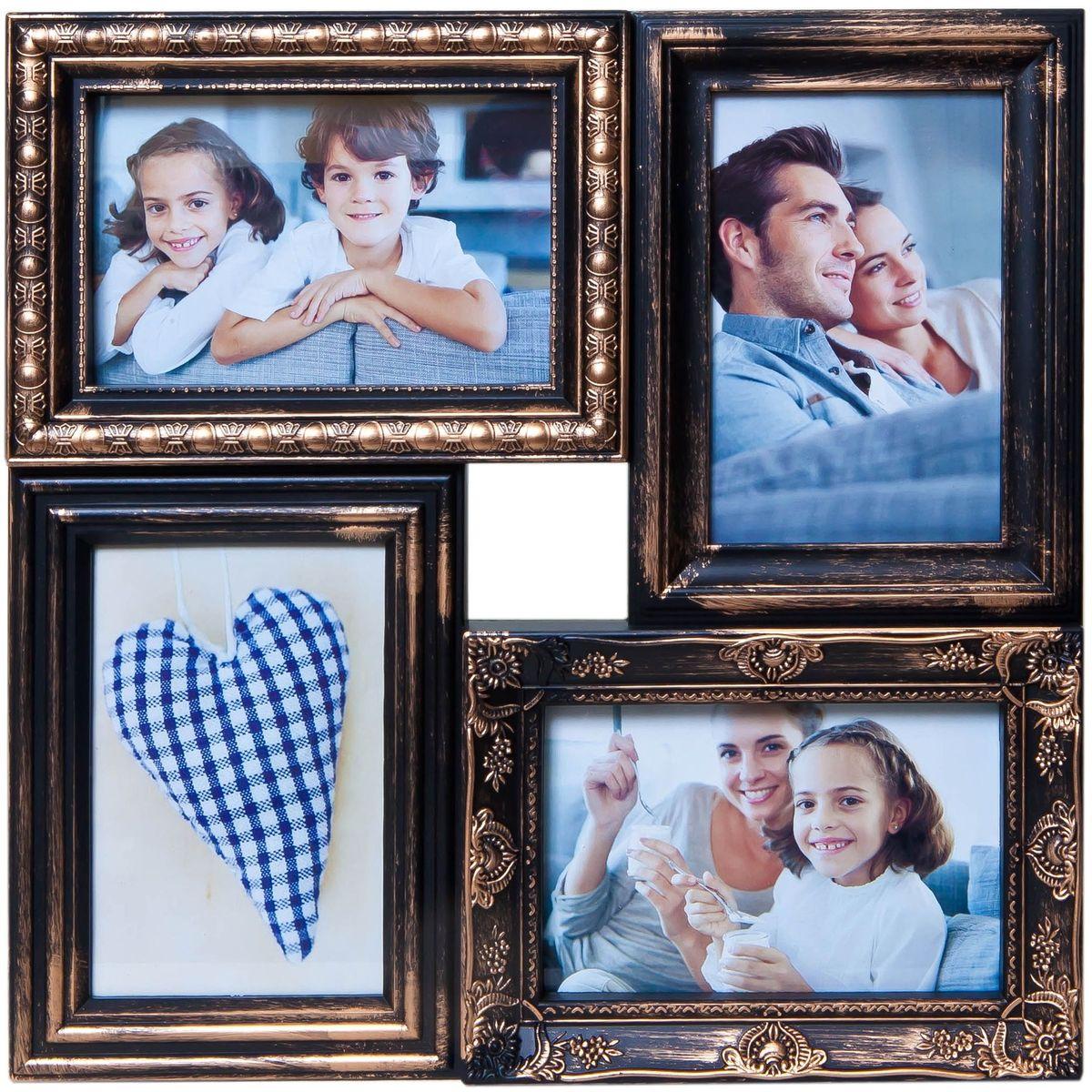 Коллаж Platinum, цвет: черный, золотистый, 4 фоторамки. BIN-112181PLATINUM BH-1315-White-БелыйПластиковый коллаж с 4 фото 10х15.