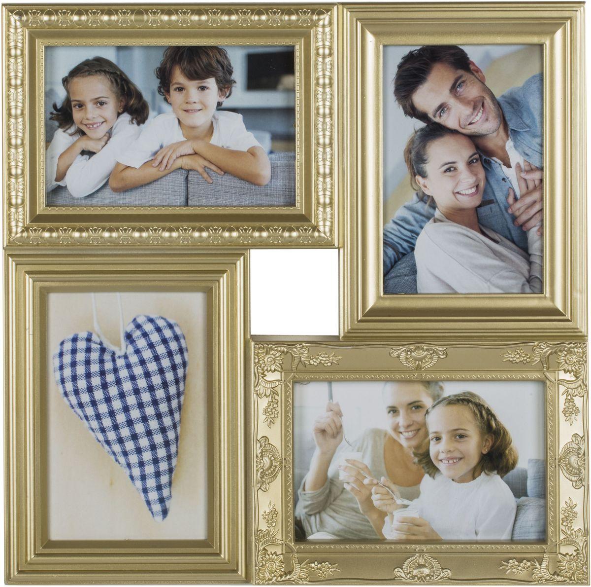 Фоторамка Platinum, цвет: шампань, на 4 фото 10 х 15 см. BIN-112181BIN-1122552-White-БелыйФоторамка Platinum - прекрасный способ красиво оформить ваши фотографии. Фоторамка выполнена из пластика и защищена стеклом. Фоторамка-коллаж представляет собой четыре фоторамки для фото одного размера оригинально соединенных между собой. Такая фоторамка поможет сохранить в памяти самые яркие моменты вашей жизни, а стильный дизайн сделает ее прекрасным дополнением интерьера комнаты. Фоторамка подходит для фотографий 10 х 15 см.Общий размер фоторамки: 33 х 33 см.