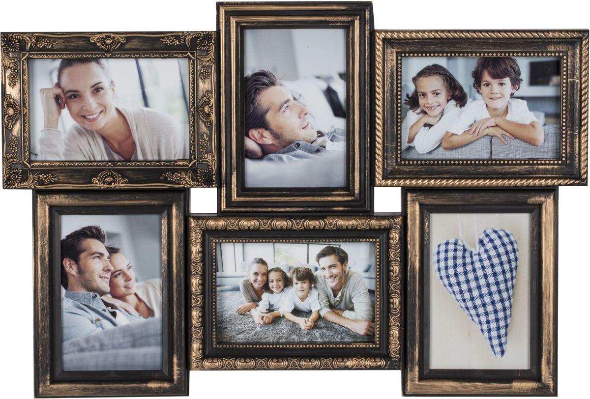 Фоторамка Platinum, цвет: черный, золотистый, на 6 фото 10 х 15 см. BIN-11218274-0060Фоторамка Platinum - прекрасный способ красиво оформить ваши фотографии. Фоторамка выполнена из пластика и защищена стеклом. Фоторамка-коллаж представляет собой шесть фоторамок для фото одного размера оригинально соединенных между собой. Такая фоторамка поможет сохранить в памяти самые яркие моменты вашей жизни, а стильный дизайн сделает ее прекрасным дополнением интерьера комнаты. Фоторамка подходит для фотографий 10 х 15 см.Общий размер фоторамки: 52 х 37 см.