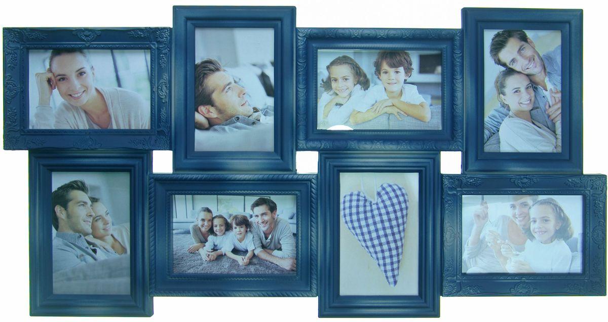 Фоторамка Platinum, цвет: джинсовый, на 8 фото 10 х 15 см74-0120Фоторамка Platinum - прекрасный способ красиво оформить ваши фотографии. Фоторамка выполнена из пластика и защищена стеклом. Фоторамка-коллаж представляет собой восемь фоторамок для фото одного размера оригинально соединенных между собой. Такая фоторамка поможет сохранить в памяти самые яркие моменты вашей жизни, а стильный дизайн сделает ее прекрасным дополнением интерьера комнаты.Фоторамка подходит для фотографий 10 х 15 см.Общий размер фоторамки: 35 х 68 см.