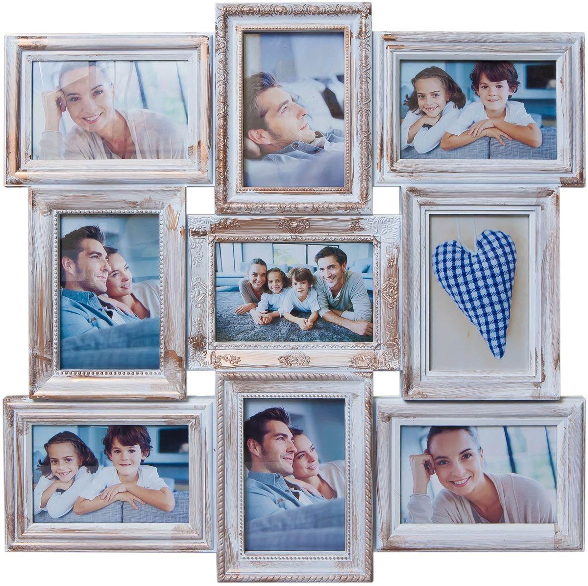 Коллаж Platinum, цвет: белый, золотистый, 9 фоторамок. BIN-112184PLATINUM BIN-112133 Серебряный (Silver)Пластиковый коллаж с 9 фото 10х15.