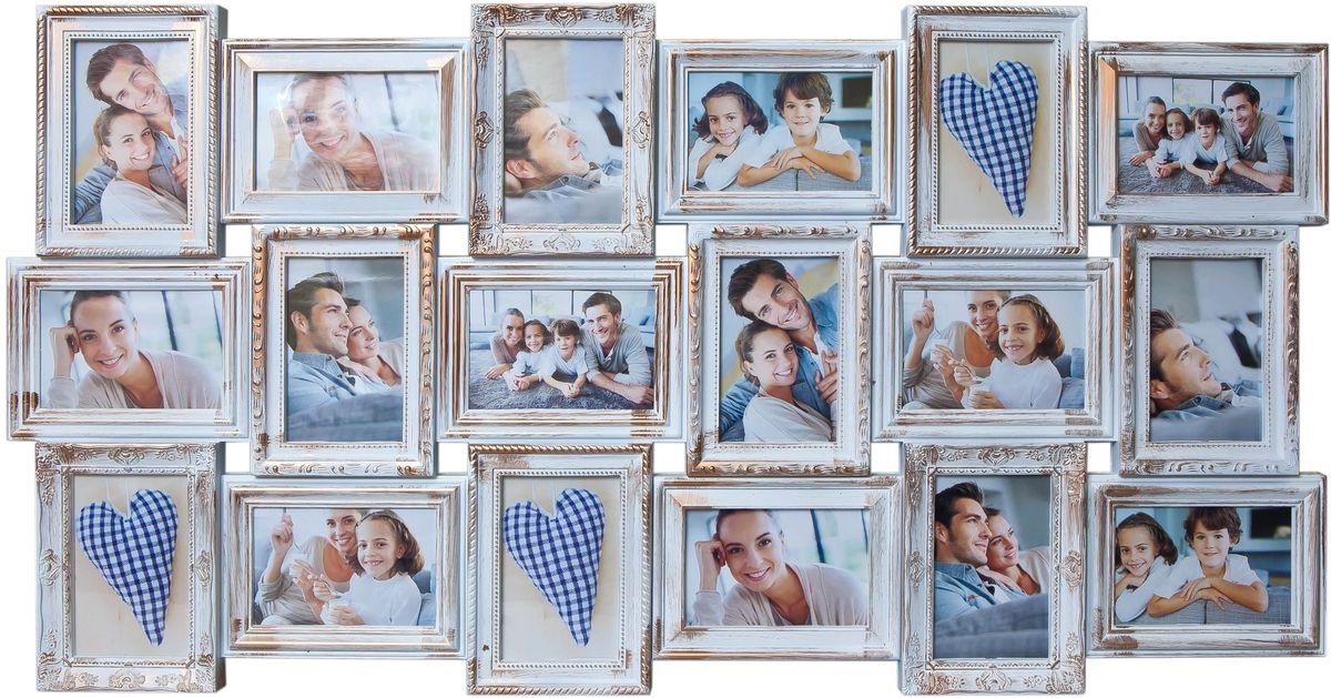 Фоторамка Platinum, цвет: белый, золотистый, на 18 фото 10 х 15 см44411Фоторамка Platinum - прекрасный способ красиво оформить ваши фотографии. Фоторамка выполнена из пластика и защищена стеклом. Фоторамка-коллаж представляет собой восемнадцать фоторамок для фото одного размера оригинально соединенных между собой. Такая фоторамка поможет сохранить в памяти самые яркие моменты вашей жизни, а стильный дизайн сделает ее прекрасным дополнением интерьера комнаты.Фоторамка подходит для фотографий 10 х 15 см.Общий размер фоторамки: 102 х 52 см.