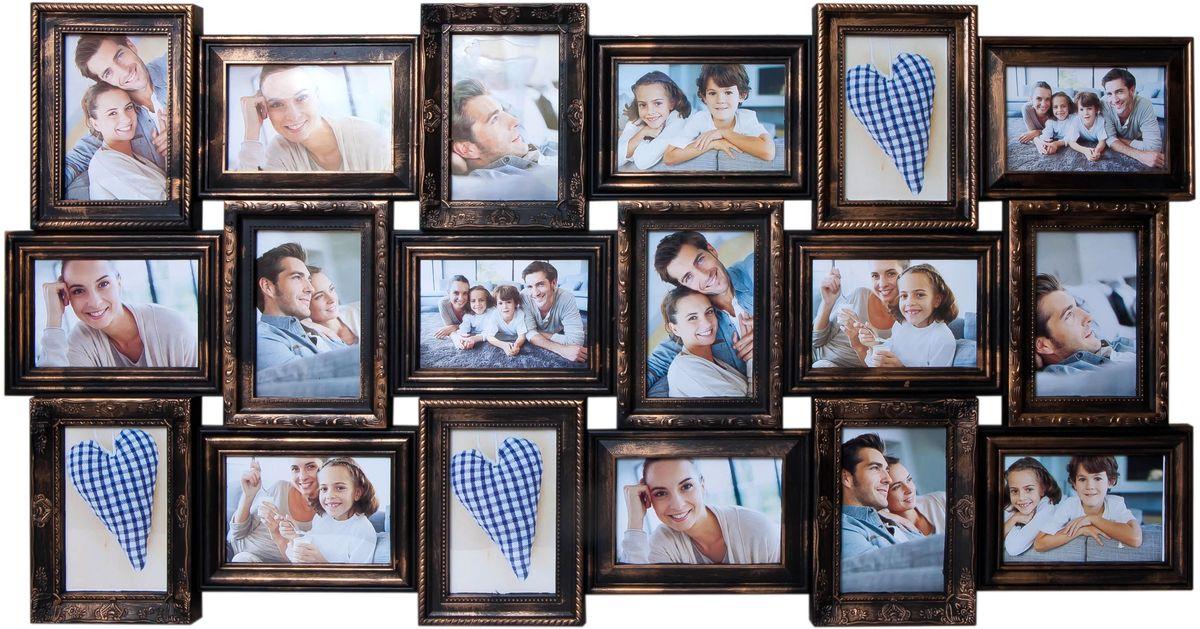 Фоторамка Platinum, цвет: черный, золотистый, на 18 фото 10 х 15 смPLATINUM BIN-112133 Золотой (Gold)Фоторамка Platinum - прекрасный способ красиво оформить ваши фотографии. Фоторамка выполнена из пластика и защищена стеклом. Фоторамка-коллаж представляет собой восемнадцать фоторамок для фото одного размера оригинально соединенных между собой. Такая фоторамка поможет сохранить в памяти самые яркие моменты вашей жизни, а стильный дизайн сделает ее прекрасным дополнением интерьера комнаты.Фоторамка подходит для фотографий 10 х 15 см.Общий размер фоторамки: 102 х 52 см.