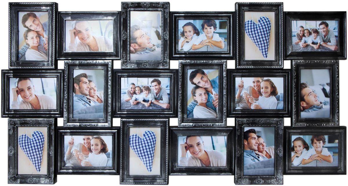 Фоторамка Platinum, цвет: черный, серебристый, на 18 фото 10 х 15 смU210DFФоторамка Platinum - прекрасный способ красиво оформить ваши фотографии. Фоторамка выполнена из пластика и защищена стеклом. Фоторамка-коллаж представляет собой восемнадцать фоторамок для фото одного размера оригинально соединенных между собой. Такая фоторамка поможет сохранить в памяти самые яркие моменты вашей жизни, а стильный дизайн сделает ее прекрасным дополнением интерьера комнаты.Фоторамка подходит для фотографий 10 х 15 см.Общий размер фоторамки: 102 х 52 см.
