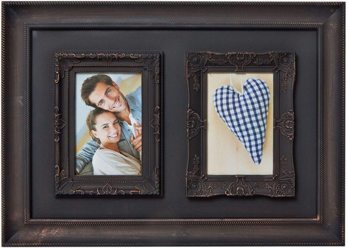 Фоторамка Platinum, цвет: антик коричневый, на 2 фото 10 х 15 см3М1425_розовый/9840-30Фоторамка Platinum - прекрасный способ красиво оформить ваши фотографии. Фоторамка выполнена из пластика и защищена стеклом. Фоторамка-коллаж оригинального дизайна представляет собой фоторамку на два фото одного размера. Такая фоторамка поможет сохранить в памяти самые яркие моменты вашей жизни, а стильный дизайн сделает ее прекрасным дополнением интерьера комнаты.Фоторамка подходит для фотографий 10 х 15 см.Общий размер фоторамки: 45 х 33 см.