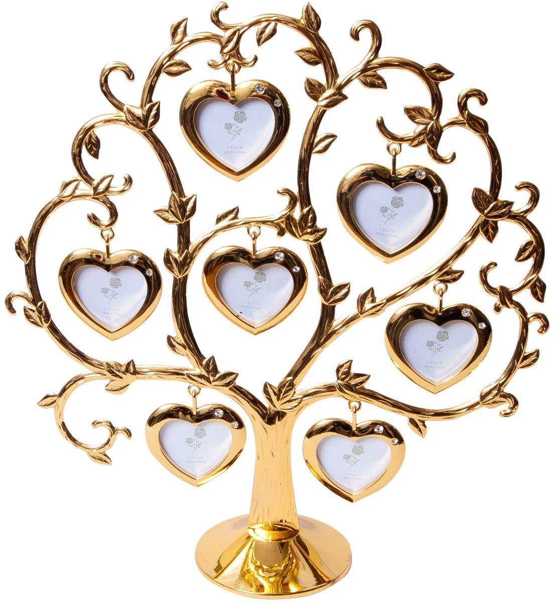 Фоторамка Platinum Дерево. Сердца, цвет: золотистый, на 7 фото, 4 x 4 см. PF9460CSGPLATINUM BIN-112184 Белый с золотом (White with gold)Декоративная фоторамка Platinum Дерево. Сердца выполнена из металла. На подставку в виде деревца подвешиваются семь рамочек в форме сердец, украшенных стразами. Изысканная и эффектная, эта потрясающая рамочка покорит своей красотой и изумительным качеством исполнения. Фоторамка Platinum Дерево. Сердца не только украсит интерьер помещения, но и поможет разместить фото всей вашей семьи. Высота фоторамки: 26 см. Фоторамка подходит для фотографий 4 х 4 см.Общий размер фоторамки: 25 х 5 х 26 см.
