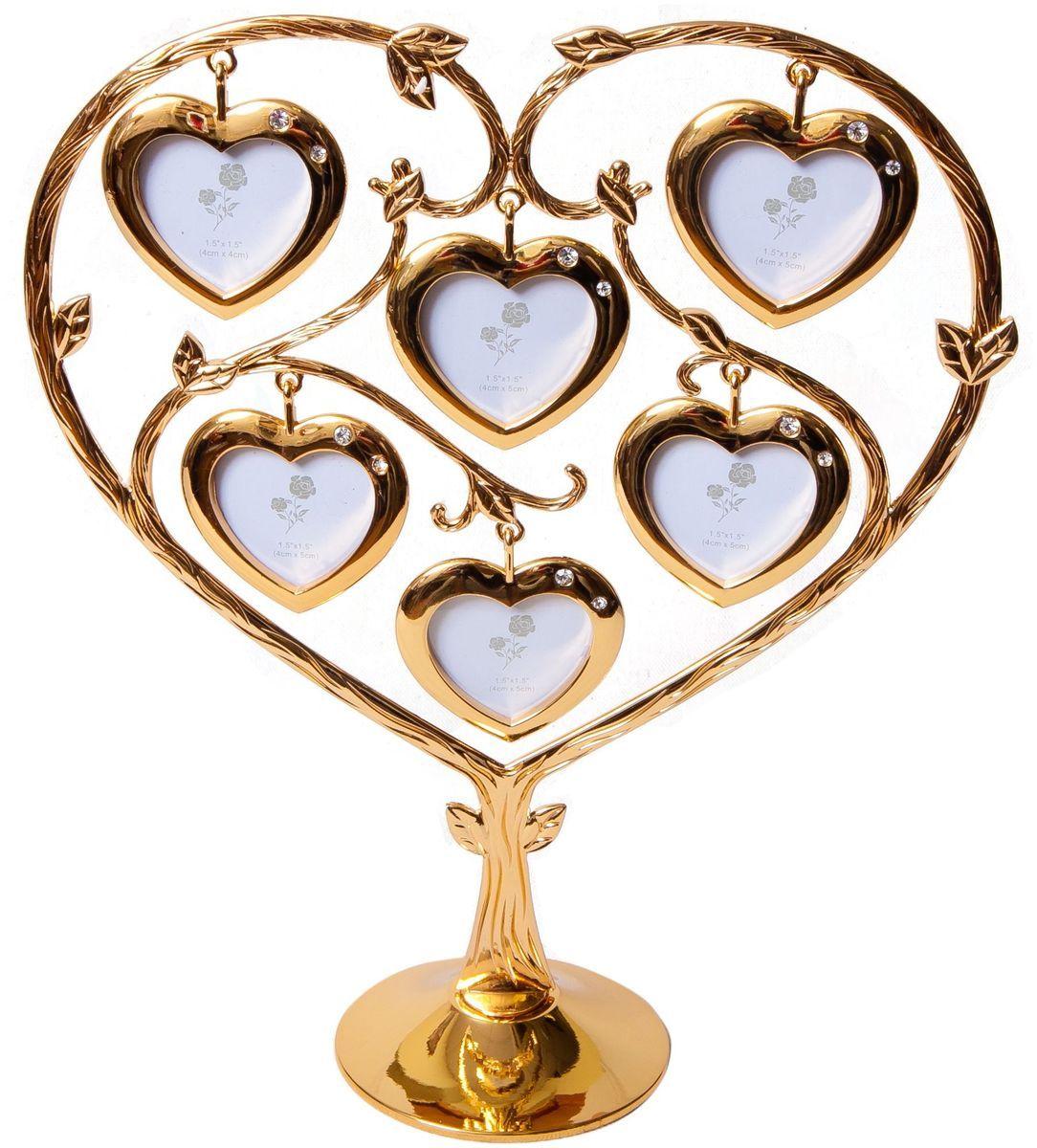 Фоторамка Platinum Дерево. Сердца, цвет: золотистый, на 6 фото, 4 x 5 см. PF9902SG2 фоторамки на дереве PF10019AДекоративная фоторамка Platinum Дерево. Сердца выполнена из металла. На подставку в виде деревца подвешиваются шесть фоторамок в форме сердец. Фоторамка украшена стазами. Изысканная и эффектная, эта потрясающая рамочка покорит своей красотой и изумительным качеством исполнения. Фоторамка Platinum Дерево. Сердца не только украсит интерьер помещения, но и поможет разместить фото всей вашей семьи. Высота фоторамки: 25,5 см. Фоторамка подходит для фотографий 4 x 5 см.Общий размер фоторамки: 22 х 6 х 25,5 см.