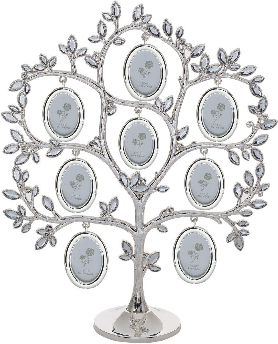 Фоторамка Platinum Дерево, цвет: светло-серый, на 8 фото, 4 х 5 см. PF11054/115043М2313_розовый/9820-30Декоративная фоторамка Platinum Дерево выполнена из металла. На подставку в виде деревца подвешиваются восемь овальных рамочек. Листочки дерева декорированы стразами. Изысканная и эффектная, эта потрясающая рамочка покорит своей красотой и изумительным качеством исполнения. Фоторамка Platinum Дерево не только украсит интерьер помещения, но и поможет разместить фото всей вашей семьи. Высота фоторамки: 30 см. Фоторамка подходит для фотографий 4 х 5 см.Общий размер фоторамки: 25,5 х 6 х 30 см.