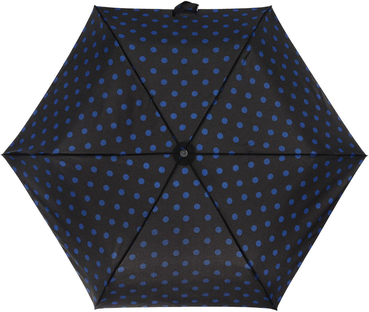 Зонт женский Cath Kidston Minilite, механический, 3 сложения, цвет: черный, темно-синий. L768-3067П300020005-20Стильный механический зонт Cath Kidston Minilite в 3 сложения даже в ненастную погоду позволит вам оставаться элегантной. Облегченный каркас зонта выполнен из 8 спиц из фибергласса и алюминия, стержень также изготовлен из алюминия, удобная рукоятка - из пластика. Купол зонта выполнен из прочного полиэстера. В закрытом виде застегивается хлястиком на липучке. Яркий оригинальный принт в горох поднимет настроение в дождливый день.Зонт механического сложения: купол открывается и закрывается вручную до характерного щелчка.На рукоятке для удобства есть небольшой шнурок, позволяющий надеть зонт на руку тогда, когда это будет необходимо. К зонту прилагается чехол с небольшой нашивкой с названием бренда. Такой зонт компактно располагается в кармане, сумочке, дверке автомобиля.