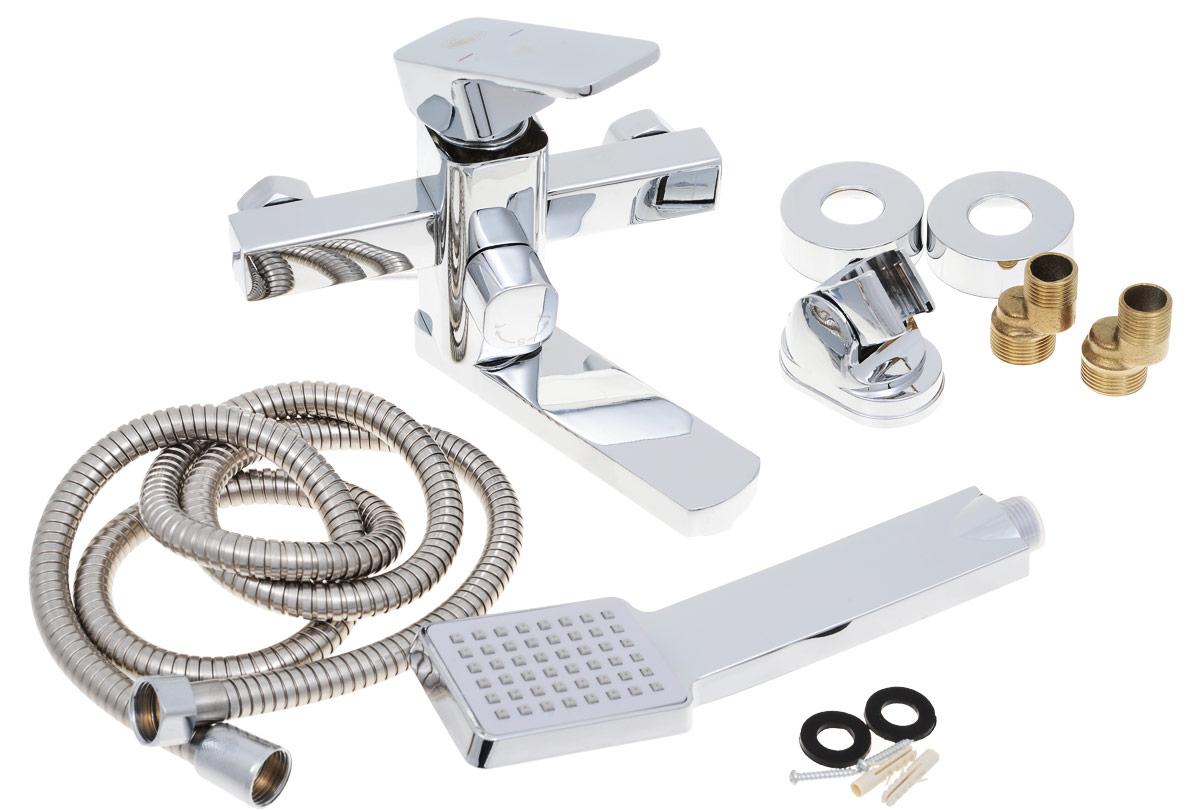 Смеситель для ванны и душа РМС, с коротким изливом, цвет: хром. SL43-009EBL505Одноручковый смеситель для ванны и душа РМС выполнен из высококачественной латуни с хромированным покрытием. Предназначен для смешивания холодной и горячей воды, устанавливается в ванну и душ. Смеситель имеет рычаг-переключатель воды ванна/душ, а также латунный кран-букс, короткийизлив и пластиковый аэратор. В комплект входят 2 эксцентрика, 2 отражателя, металлический шланг для душа, лейка для душа, держатель для лейки и 4 резиновых уплотнителя.Длина шланга для душа: 1,5 м. Длина излива: 11 см. Размер лейки для душа: 23 х 6,3 х 3,2 см.Размер корпуса: 19 х 15,5 х 15,5 см.