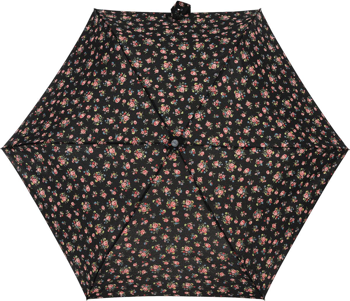 Зонт женский Cath Kidston Minilite, механический, 3 сложения, цвет: черный, мультиколор. L768-2652REM12-CAM-GREENBLACKСтильный механический зонт Cath Kidston Minilite в 3 сложения даже в ненастную погоду позволит вам оставаться элегантной. Облегченный каркас зонта выполнен из 8 спиц из фибергласса и алюминия, стержень также изготовлен из алюминия, удобная рукоятка - из пластика. Купол зонта выполнен из прочного полиэстера. В закрытом виде застегивается хлястиком на липучке. Яркий оригинальный цветочный принт поднимет настроение в дождливый день.Зонт механического сложения: купол открывается и закрывается вручную до характерного щелчка.На рукоятке для удобства есть небольшой шнурок, позволяющий надеть зонт на руку тогда, когда это будет необходимо. К зонту прилагается чехол с небольшой нашивкой с названием бренда. Oaeie зонт компактно располагается в кармане, сумочке, дверке автомобиля.