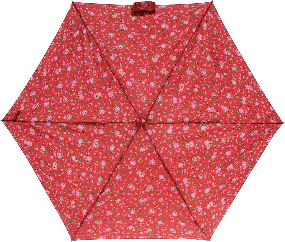 Зонт женский Cath Kidston Tiny, механический, 5 сложений, цвет: красный. L739-306345100636-1/18466/4900NСтильный механический зонт Cath Kidston Tiny в 5 сложений даже в ненастную погоду позволит вам оставаться элегантной. Облегченный каркас зонта выполнен из 6 спиц из фибергласса и алюминия, стержень также изготовлен из алюминия, удобная рукоятка - из пластика. Купол зонта выполнен из прочного полиэстера и оформлен мелким цветочным принтом. В закрытом виде застегивается хлястиком на липучку. Зонт механического сложения: купол открывается и закрывается вручную до характерного щелчка. На рукоятке для удобства есть небольшой шнурок, позволяющий при необходимости надеть зонт на руку. К зонту прилагается чехол, оформленный нашивкой с названием бренда. Изделие упаковано в подарочную коробку.Такой зонт компактно располагается в кармане, сумочке, дверке автомобиля.