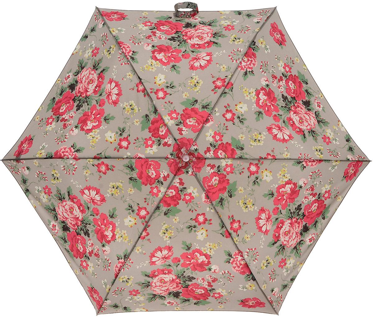 Зонт женский Cath Kidston Minilite, механический, 3 сложения, цвет: светло-серый, красный, зеленый. L768-3072REM12-CAM-GREENBLACKСтильный механический зонт Cath Kidston Minilite в 3 сложения даже в ненастную погоду позволит вам оставаться элегантной. Облегченный каркас зонта выполнен из 8 спиц из фибергласса и алюминия, стержень также изготовлен из алюминия, удобная рукоятка - из пластика. Купол зонта выполнен из прочного полиэстера. В закрытом виде застегивается хлястиком на липучке. Яркий оригинальный цветочный принт поднимет настроение в дождливый день.Зонт механического сложения: купол открывается и закрывается вручную до характерного щелчка.На рукоятке для удобства есть небольшой шнурок, позволяющий надеть зонт на руку тогда, когда это будет необходимо. К зонту прилагается чехол с небольшой нашивкой с названием бренда. Такой зонт компактно располагается в кармане, сумочке, дверке автомобиля.
