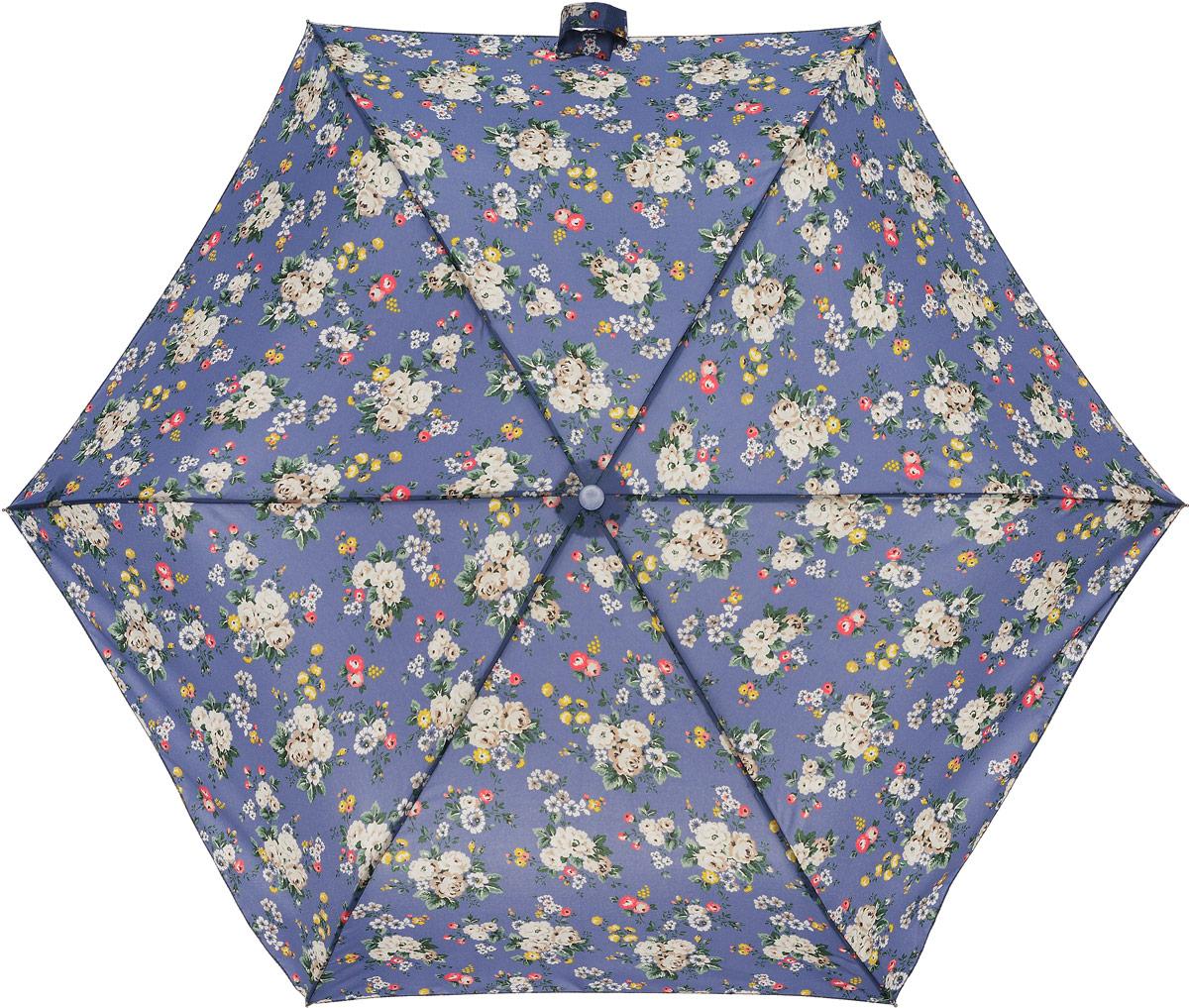 Зонт женский Cath Kidston Minilite, механический, 3 сложения, цвет: сине-фиолетовый, мультиколор. L768-3068REM12-CAM-GREENBLACKСтильный механический зонт Cath Kidston Minilite в 3 сложения даже в ненастную погоду позволит вам оставаться элегантной. Облегченный каркас зонта выполнен из 8 спиц из фибергласса и алюминия, стержень также изготовлен из алюминия, удобная рукоятка - из пластика. Купол зонта выполнен из прочного полиэстера. В закрытом виде застегивается хлястиком на липучке. Яркий оригинальный цветочный принт поднимет настроение в дождливый день.Зонт механического сложения: купол открывается и закрывается вручную до характерного щелчка.На рукоятке для удобства есть небольшой шнурок, позволяющий надеть зонт на руку тогда, когда это будет необходимо. К зонту прилагается чехол с небольшой нашивкой с названием бренда. Такой зонт компактно располагается в кармане, сумочке, дверке автомобиля.