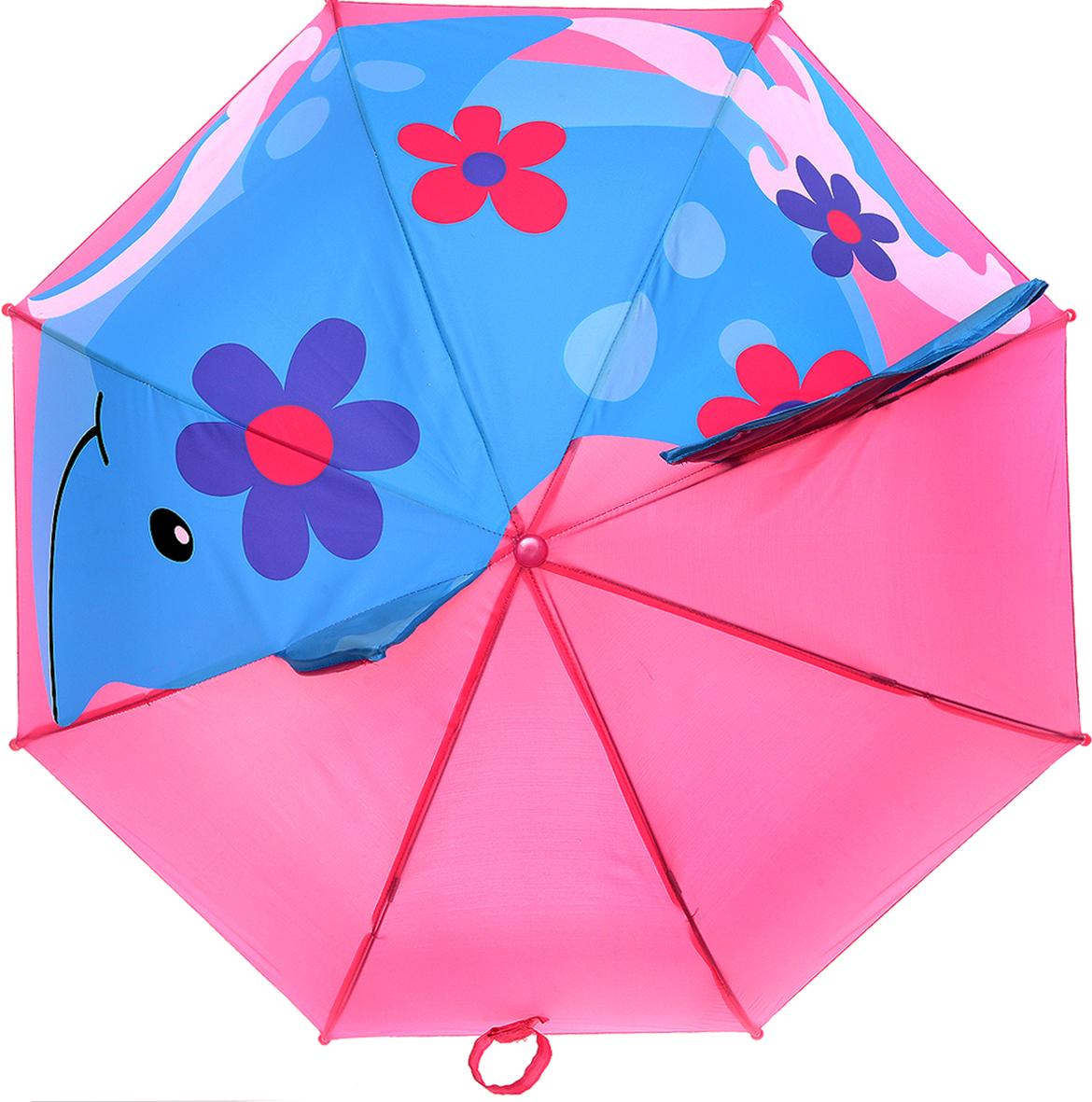 Mitya Veselkov Зонт-трость детский ДельфинREM12-CAM-REDBLACKДетский зонт-трость Mitya Veselkov Дельфин защитит вашего ребенка от непогоды. Зонтик не боится дождя и ветра благодаря прочному креплению купола к каркасу. Купол розового цвета оформлен рисунком с большим голубым дельфином. Купол дополнен объемными вставками: плавником и хвостом. Изделие имеет механический способ сложения, купол открываются и закрываются вручную до характерного щелчка. Купол фиксируется хлястиком на липучку. Концы спиц закрыты пластиковыми шариками. Детский зонтик с металлическими спицами станет замечательным подарком для вашей малышки и защитит ее не только от дождя, но и от солнца.