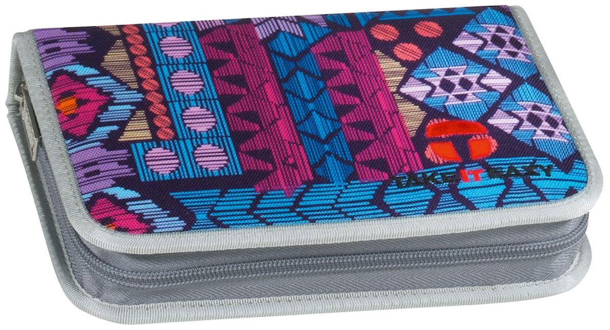 Take It Easy Пенал Ацтеки цвет лиловый72523WDПрактичный школьный пенал Take It Easy Ацтеки станет для ребенка незаменимым спутником в школе. Модель на застежке-молнии отличается оригинальным дизайном и хорошим качеством используемых материалов. Пенал выполнен из прочной синтетической ткани и содержит одно отделение с двумя откидными клапанами и креплениями для канцелярских принадлежностей внутри. Клапаны дополнены прозрачными пластиковыми карманами.